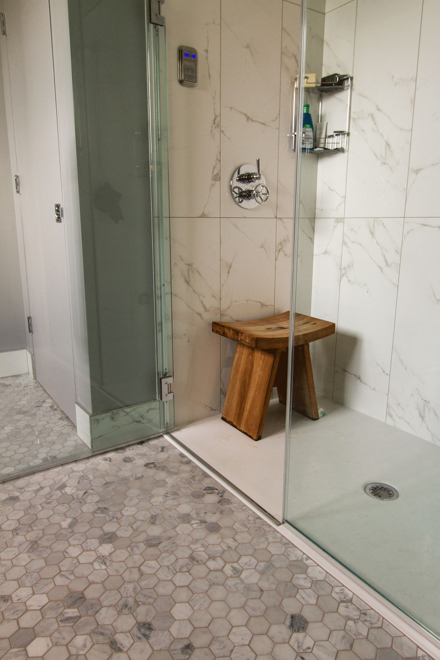 Remodel-Shower-Marble-Hexagon-Floor-Tile