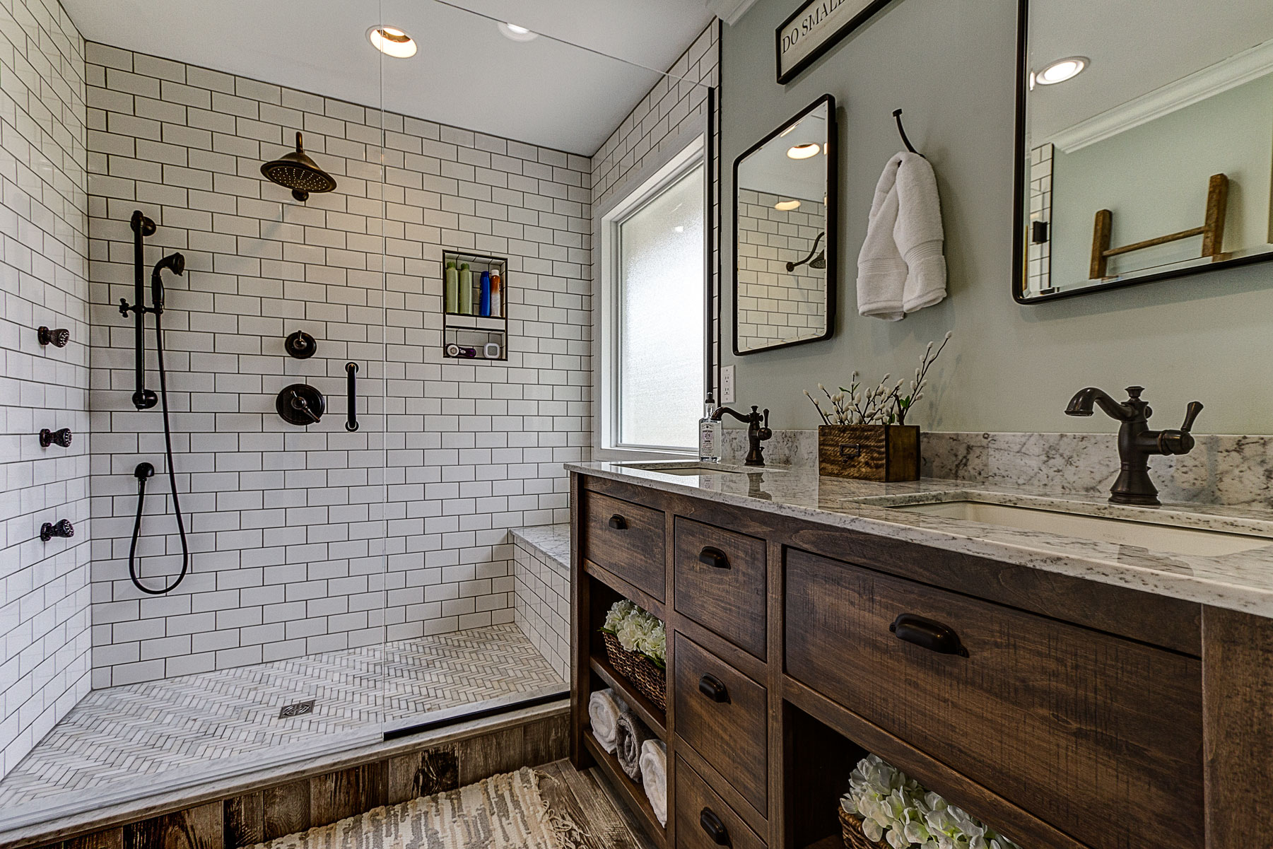 Modern-bathroom remodel-subway tile-wood-look-tile-oil-rubbed-bronze